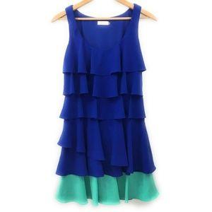Calvin Klein Womens Midi Blue/Green Dress, Size 6
